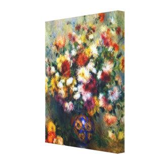 Toile Vase de beaux-arts de Renoir de chrysanthèmes