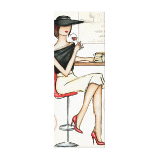 Toile Verre de femme et de vin