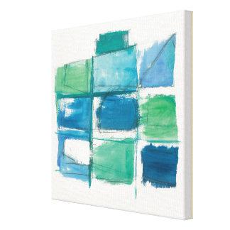Toile Vert abstrait et bleu sur le blanc