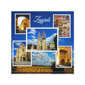 Toile Vieux collage de photo de ville de Zagreb