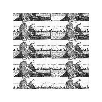 Toile Viking découpant des runes