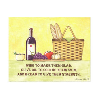 Toile Vin, pétrole et pain