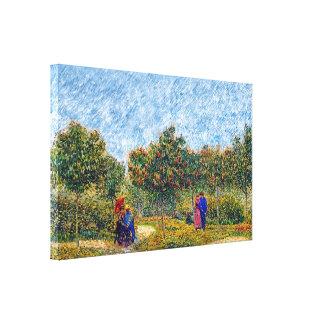 Toile Vincent van Gogh - couples d'amoureux en parc