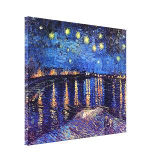 Toile Vincent van Gogh - nuit étoilée au-dessus du Rhône