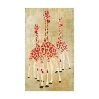 Toile vintage de girafes de rose rouge toiles tendues