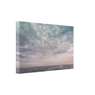 Toile Vol de mouette sous un ciel nuageux