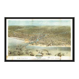 Toile Vue aérienne de Chicago, l'Illinois (1868)