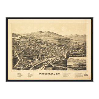 Toile Vue aérienne de Ticonderoga, New York (1891)