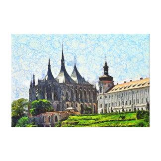 Toile Vue de cathédrale de St Barbara dans Kutná Hora.