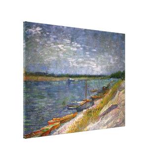 Toile Vue de Van Gogh de rivière avec des bateaux