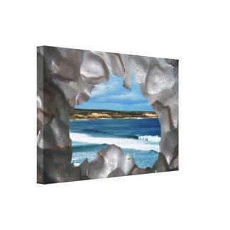 Toile Vue métallique de paysage marin de carte de