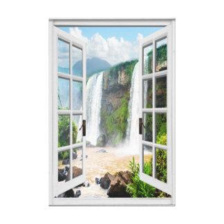 Toile Vue Trompe - l ' fausse fenêtre de cascade d'oeil