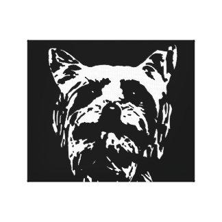 Toile Yorkshire Terrier noir/blanc a enveloppé la copie