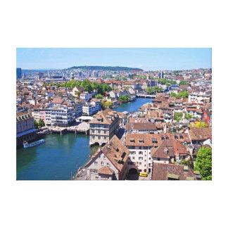 Toile Zurich. Panorama de la tour de Grossmunster