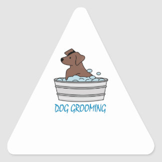 Toilettage de chien sticker triangulaire