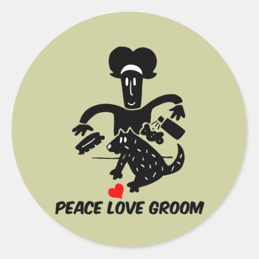 Toilettage de chien d'amour de paix adhésif rond