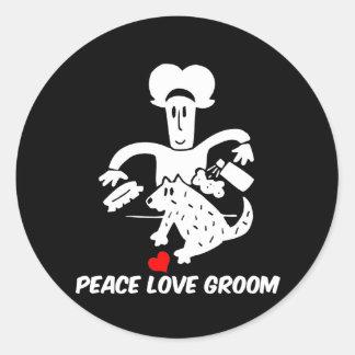 Toilettage de chien d'amour de paix sticker rond