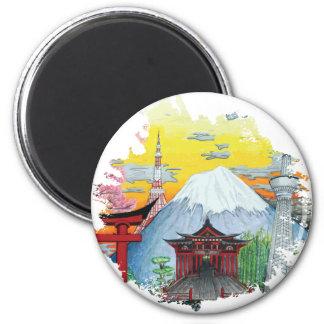 Tokyo avec l'art d'original du mont Fuji Magnet Rond 8 Cm