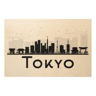 Tokyo, Japon horizon noir et blanc de | de ville Art Mural Sur Bois