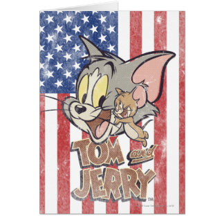 Tom et Jerry avec le drapeau des USA Cartes