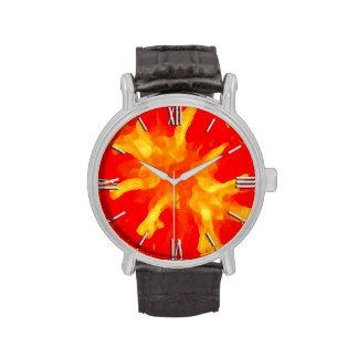 Tomate rouge flamboyante d'art de bruit montres bracelet