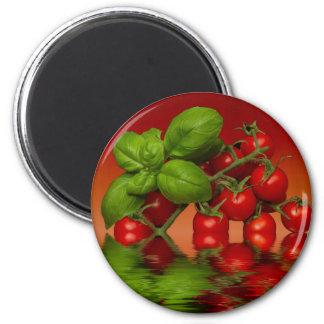 Tomates cerise rouges Basil Aimant