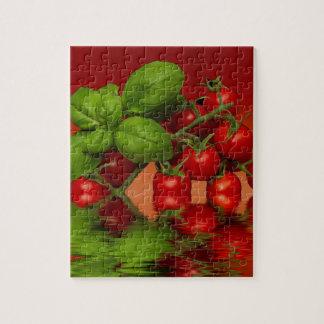 Tomates cerise rouges Basil Puzzle