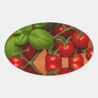 Tomates cerise rouges Basil Sticker Ovale
