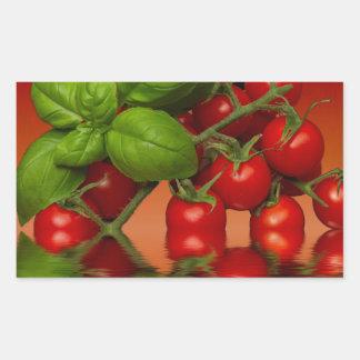 Tomates cerise rouges Basil Sticker Rectangulaire