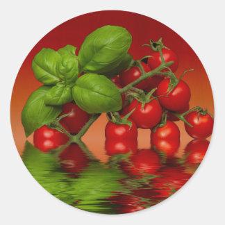 Tomates cerise rouges Basil Sticker Rond