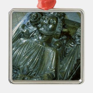 Tomb du Roi John avec deux chiffres miniatures Ornement Carré Argenté