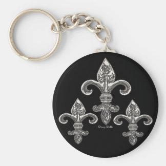 Ton argenté Fleur De Lys Keychain Porte-clés