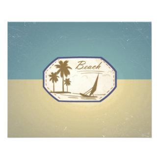 Ton bleu de sépia de rétro de plage bateau vintage prospectus personnalisés