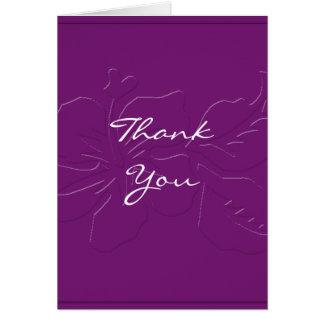 Ton d'aubergine sur le carte de remerciements de