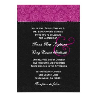 Ton de rose et de noir deux épousant V323 Carton D'invitation 12,7 Cm X 17,78 Cm