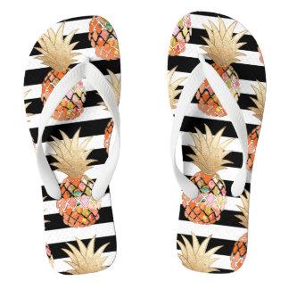 Tongs Ananas de PixDezines Aloha+Rayures