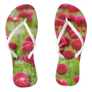 Tongs Bascules électroniques rouges à la mode de fleur