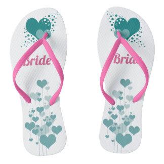 Tongs Chaussures de jeune mariée de conception de coeurs
