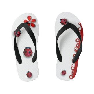 Tongs coccinelles rigolotes, fleur et formes rouge