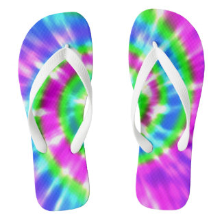 Tongs Colorant Boho coloré de cravate de paix de hippie