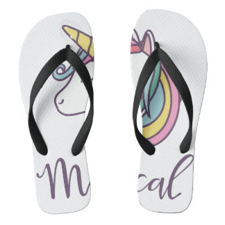 Tongs cool de graphique de conception de licorne beau