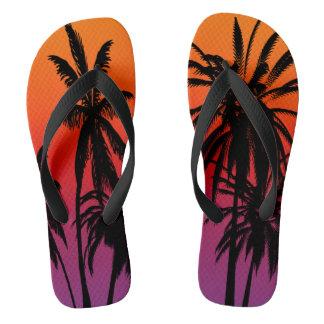 Tongs Coucher du soleil orange pourpre du Tahiti de