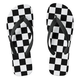 Tongs Couleur Checkered blanche et noire d'arrière -