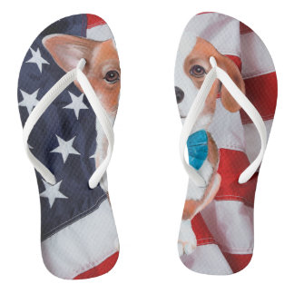 Tongs drapeau américain de corgi