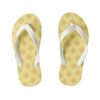 Tongs Enfants Lanières jaunes de conception de marguerite