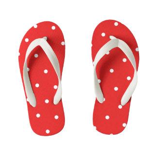 Tongs Enfants Le point de polka rouge badine des bascules