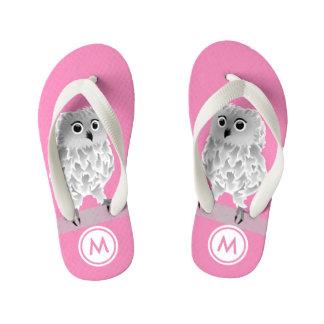 Tongs Enfants Monogramme blanc mignon de filles de rose de hibou