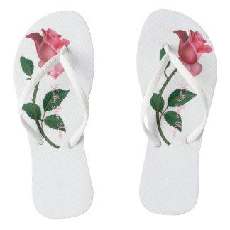 Tongs Lanières d'équilibre de /White de rose rose de