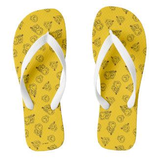 Tongs M. Happy et petit motif jaune de Mlle Sunshine |
