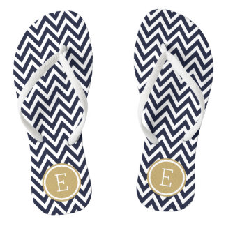 Tongs Monogramme de Chevron de marine et d'or